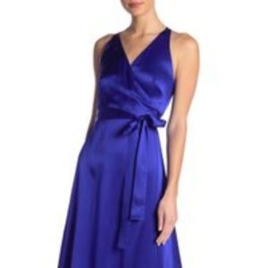 THEATRO PURPLE 100% SILK WRAP DRESS VIOLET